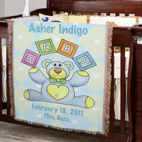 Personalized Baby Boy Teddy Bear Tapestry Throw Blanket | Personalized Baby Blankets