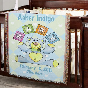 Personalized Baby Boy Teddy Bear Blanket