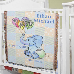 Personalized Baby Boy Elephant Blanket