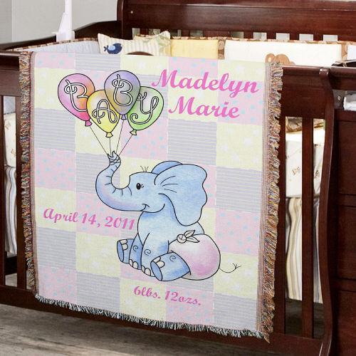 Personalized Baby Girl Teddy Bear Tapestry Throw Blanket 83039835