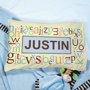 Personalized Blue Alphabet Name Pillow | Personalized Pillowcases