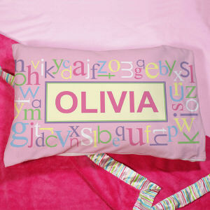 Personalized Pink Alphabet Name Pillow | Personalized Pillow Cases