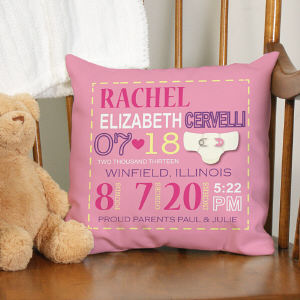 Personalized Girl Birth Announcement Throw Pillow