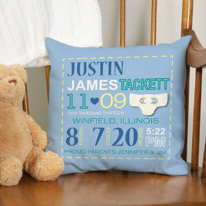 Personalized Boy Birth Announcement Throw Pillow