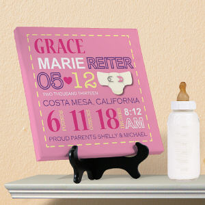 Personalized Girl Birth Announcement Canvas