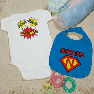 Personalized Super Cute Bib and Creeper Set