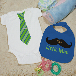 Personalized Little Man Bib and Creeper Set