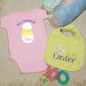 Personalized My First Easter Pink Bib Set