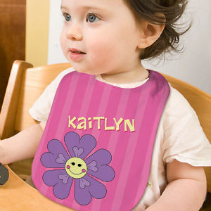 Personalized Flower Baby Bib