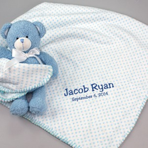 Embroidered Blue Dot Blanket and Teddy Bear Set
