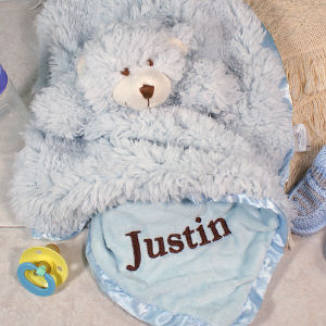 Embroidered Cuddle Bud Blue Bear Blanket