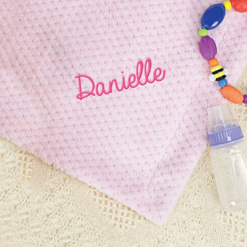 Personalized Pink Baby Blanket | Personalized Newborn Baby Gifts