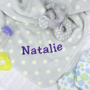 Embroidered Rattle and Blanket Gift Set