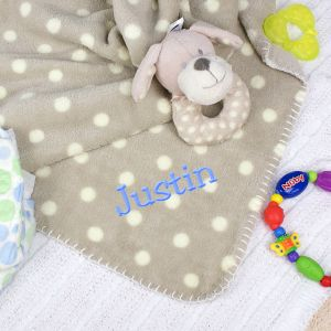 Embroidered Baby Blanket and Rattle Set