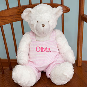 Embroidered Pink Striped Jumper Teddy Bear