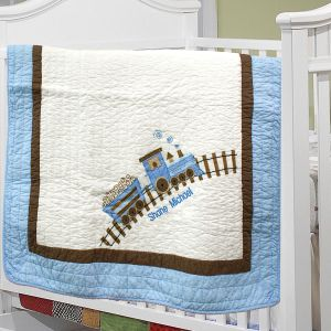 Embroidered Train Baby Quilt