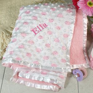 Embroidered Pink Baby Blanket E702084