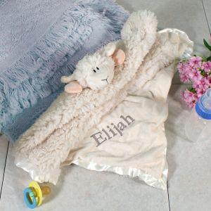 Embroidered Cuddle Bud Lamb Blanket