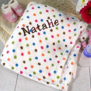 Embroidered Polka Dot Baby Fleece Blanket