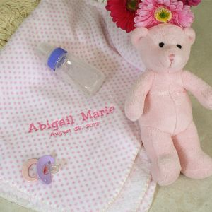 Embroidered Pink Dot Blanket and Teddy Bear Set
