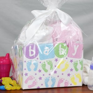 Embroidered New Baby Girl Gift Basket