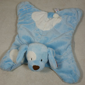 Embroidered Blue Spunky Puppy Baby Blanket
