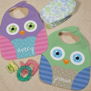 Personalized Owl Baby Bib