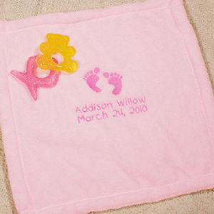 Embroidered Pink Baby Security Blankie