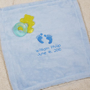 Embroidered Baby Blue Security Blankie