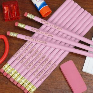 Engraved Pink School Pencils