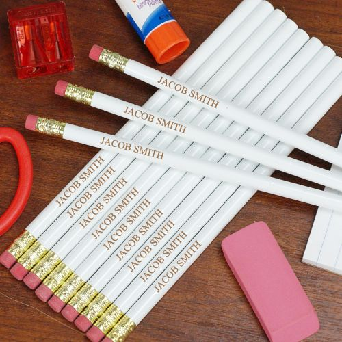 Personalized White School Pencils L451913WH