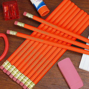 Engraved Orange School Pencils