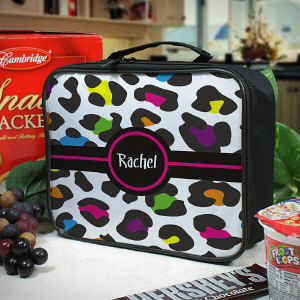 Personalized Multicolored Leopard Print Lunch Tote