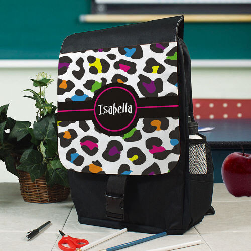 Personalized Multicolored Leopard Print Backpack U578862