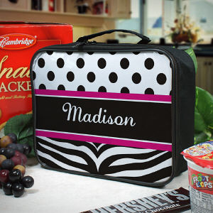 Personalized Zebra Print Children's Lunch Tote