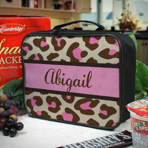 Personalized Pink Leopard Print Lunch Tote