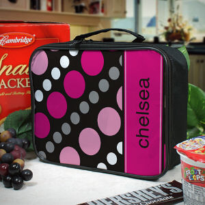 Personalized Dots Lunch Tote