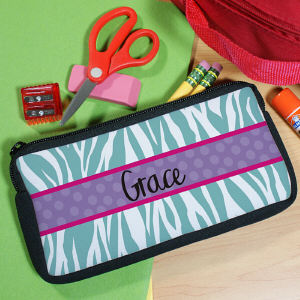 Personalized Zebra Print Pencil Case