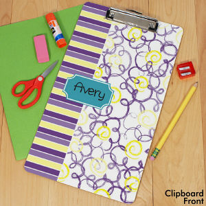 Personalized Flowers & Stripes Clipboard