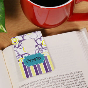 Flowers and Stripes Personalized Bookmark