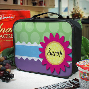Personalized Flower and Polka Dot Lunch Tote