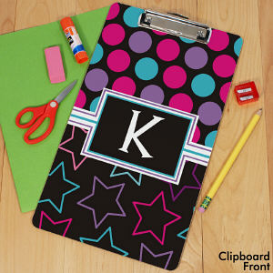 Personalized Dots and Stars Clipboard