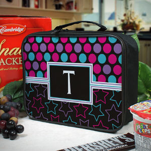 Personalized Dots and Stars Lunch Tote