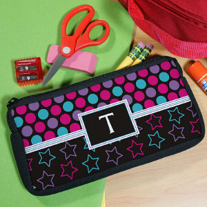 Personalized Dots and Stars Pencil Case