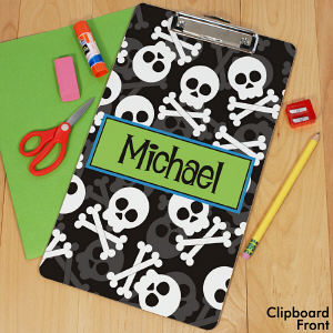 Personalized Skull and Crossbones Clipboard