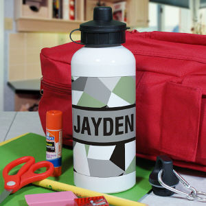 Personalized Jagged Squares Water Bottle
