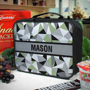 Personalized Jagged Squares Lunch Tote