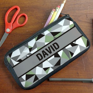 Personalized Jagged Squares Pencil Pouch