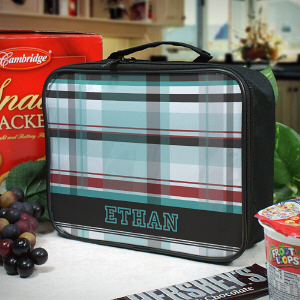 Personalized Blue Plaid Lunch Tote