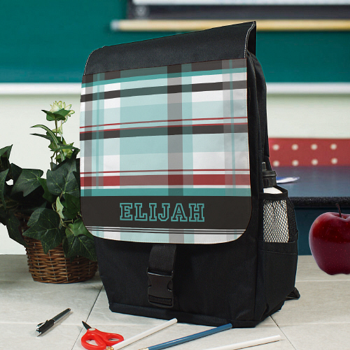 Personalized Blue Plaid Backpack U780162